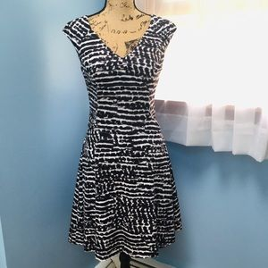 Calvin Klein Black and White Pattern Dress